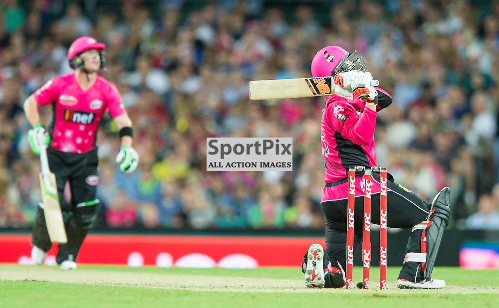 KFC Big Bash League T20 2015-16 , Sydney Sixers v Sydney Thunder, SCG; 16 January 2016<br /> Sydney Sixers Nic Maddinson hits a 6 from the bowling of Sydney Thunder Shane Watson