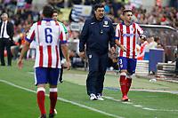 Atletico de Madrid´s second coach `Mono´Burgos and Siqueira during 2014 Supercopa de España `Spain Supercup´ second leg match at Vicente Calderon stadium. August 22, 2014. (ALTERPHOTOS/Victor Blanco)