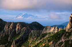 Mt. Rainier and Goat Rocks Wilderness from Mt. Margaret Backcountry, Mt. St. Helens National Volcanic Monument, Washington, US