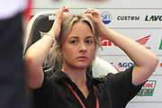 Lucy Crutchlow, wife of #35 Cal Crutchlow, British: LCR Honda Castrol watches as husband has high speed crash during the MotoGP Gran Premio Red Bull de Espana at Circuito de velocidad de Jerez, Jerez De La Frontera, Spain on 4 May 2019.