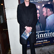 London, England, UK. 23 January 2018.Jamie Campbell Bower Arrivers at Beginning - press night at Ambassadors Theatre.