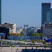 A nearly perfect straight line from one end to the other: The Royal Axis in Paris: L'Arche de la Défense, the Arc de Triumph, Place de la Concorde, Jardins des Tuileries, Arc de Triomphe du Carrousel, and the Louvre's glass pyramid - all form a nearly perfect line over a 5 mile distance