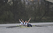 Putney, GREAT BRITAIN,   Oxfords, Oliver MOORE, spreads his arms in celebration as Oxford win the 2008 Boat Race,  Oxford vs Cambridge raced over the 'Championship Course' Putney to Mortlake, on the River Thames, Sat 29.03.2008 [Mandatory Credit, Peter Spurrier / Intersport-images Varsity Boat Race, Rowing Course: River Thames, Championship course, Putney to Mortlake 4.25 Miles,