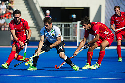 Germany's Benedikt Fuerk tries to make room for a shot. Belgium v Germany - Unibet EuroHockey Championships, Lee Valley Hockey & Tennis Centre, London, UK on 22 August 2015. Photo: Simon Parker
