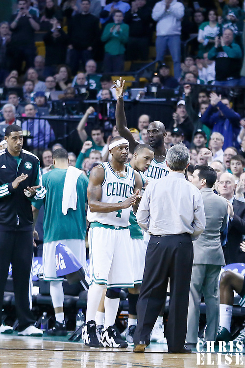 07 February 2013: Boston Celtics power forward Kevin Garnett (5) waives at the audience following his 25,000 career points during the Boston Celtics 116-95 victory over the Los Angeles Lakers at the TD Garden, Boston, Massachusetts, USA.