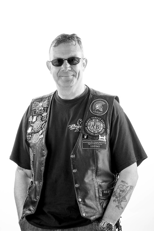 Phil Damant, RAF, 1979-2005, Sgt, Gen Tech GSE, Northern Ireland, Falkland Islands.  Phill is the current Chairman of the 'Armed Forces Bikers' charity www.armedforcesbikers.co.uk