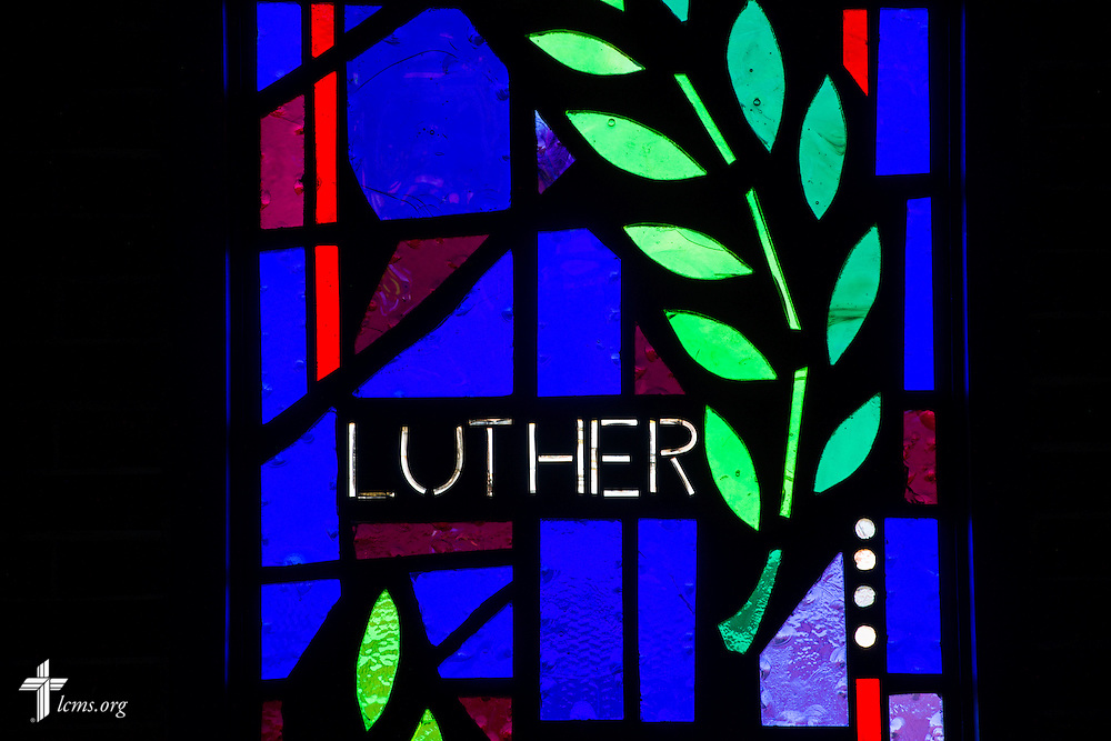 "Stained glass with the word ""Luther"" on Sunday, Nov. 22, 2015, at Salem Lutheran Church in Springdale, Ark. LCMS Communications/Erik M. Lunsford"