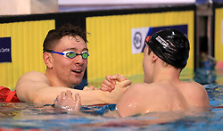 Duncan Scott (right) greets Jack Thorpe after winning the Men's 100m Freestyle final during day three of the 2017 British Swimming Championships at Ponds Forge, Sheffield.