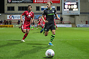 Forest Green Rovers Joseph Mills(23) on the ball during the EFL Sky Bet League 2 match between Morecambe and Forest Green Rovers at the Globe Arena, Morecambe, England on 22 October 2019.