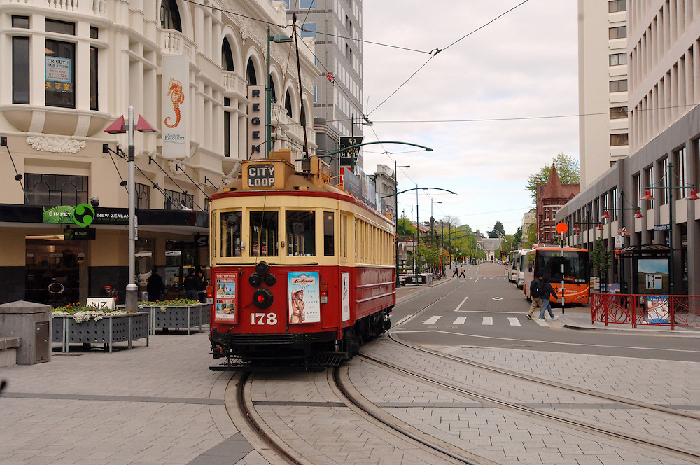 Christchurch tram leaving Cathedral Square, Christchurch, New Zealand, Tuesday October 17, 2006. Credit:SNPA / Ross Setford