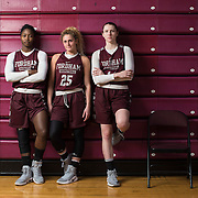 December 16, 2016 - New York, NY : From left, Fordham University Women's Basketball team seniors Danielle Burns (22), Hannah Missry (25), and Danielle Padovano (14) pose for a portrait after practice in the Rose Hill Gymnasium on Friday afternoon. CREDIT: Karsten Moran for The New York Times