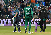 Wicket - Ben Stokes of England walks back to the pavilion after being run out after the ball was deflected on to the stumps by Shaheen Shah Afridi of Pakistan  during the third Royal London One Day International match between England and Pakistan at the Bristol County Ground, Bristol, United Kingdom on 14 May 2019.