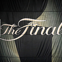 12 June 2012: NBA Finals logo banner is seen in the rafters during the Oklahoma City Thunder 105-94 victory over the Miami Heat, in Game 1 of the 2012 NBA Finals, at the Chesapeake Energy Arena, Oklahoma City, Oklahoma, USA.