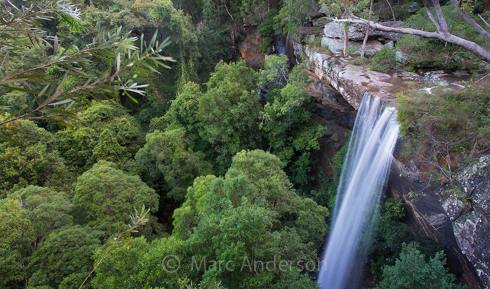 View of the lower waterfall and surrounding forest at National Falls in the Royal National Park, NSW, Australia