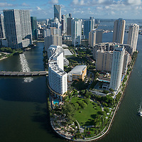 Aerial of Brickell Key from Biscayne Bay in Miami, Florida
