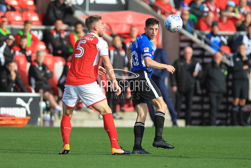 Ian Henderson wins a header during the EFL Sky Bet League 1 match between Fleetwood Town and Rochdale at the Highbury Stadium, Fleetwood, England on 14 October 2017. Photo by Daniel Youngs.