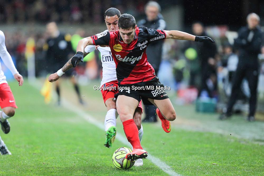 Jeremy PIED / Gregory VAN DER WIEL - 14.12.2014 - Guingamp / Paris Saint Germain - 18eme journee de Ligue 1<br />Photo : Vincent Michel / Icon Sport