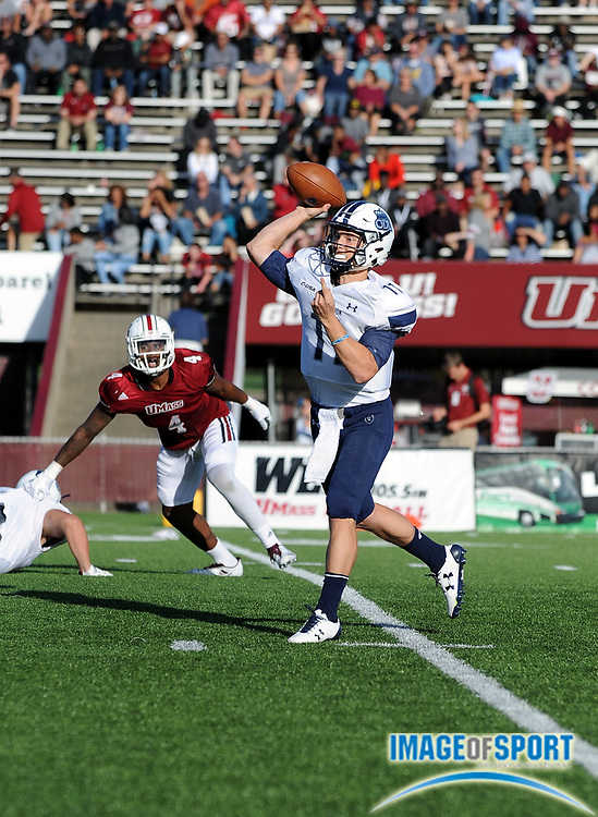 Sep 9, 2017; Amherst, MA, USA; Old Dominion quarterback Blake LaRussa (11) during a NCAA football game at McGuirk Alimni Stadium. The Old Dominion Monarchs defeated the University of Massachusetts Minutemen 17-7. Photo by Reuben Canales