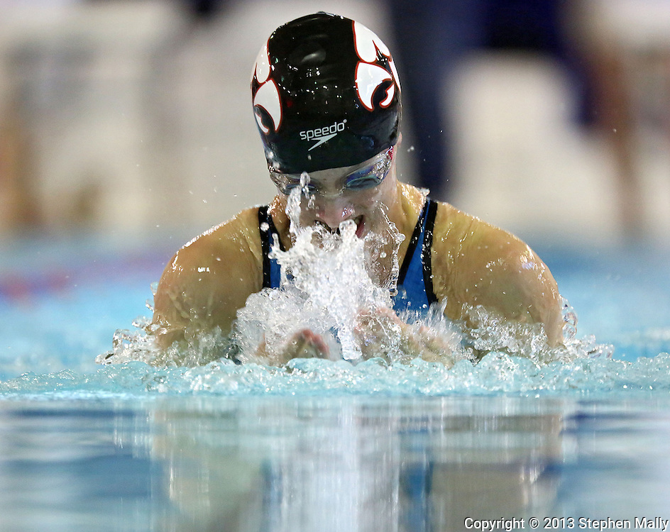 Iowa City High's Lizzie Brown powers her way through the water in the 100 yard breaststroke event at the Girls' High School State Swimming & Diving Championships at the Marshalltown YMCA/YWCA in Marshalltown on Saturday, November 9, 2013. Brown placed first with a time of 1:03.86.