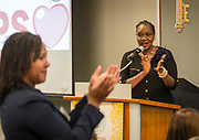 Houston ISD Trustee Wanda Adams comments during a Volunteers in Public Schools VIPS award ceremony, April 13, 2017.