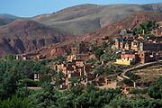 A berber town nestles in the Atlas Mountains near Marrakesh.