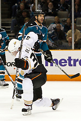 November 9, 2010; San Jose, CA, USA;  Anaheim Ducks left wing Jason Blake (33) celebrates after scoring a goal against the San Jose Sharks during the first period at HP Pavilion. Mandatory Credit: Jason O. Watson / US PRESSWIRE