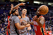 Feb 13, 2017; Phoenix, AZ, USA; Phoenix Suns forward Jared Dudley (3) looses the ball in front of New Orleans Pelicans forward Solomon Hill (44) in the first half of the NBA game at Talking Stick Resort Arena. Mandatory Credit: Jennifer Stewart-USA TODAY Sports