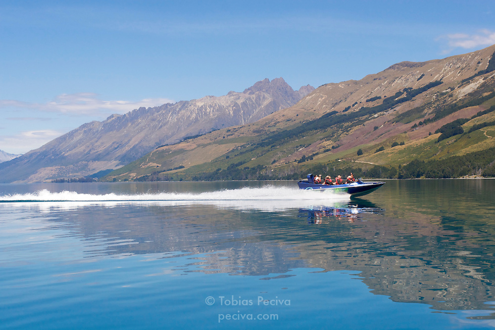 A jetboat on Lake Wakatipu, heading towards the mouth of the Dart River, near Glenorchy, New Zealand.
