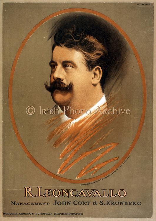 Ruggiero Leoncavallo  1858-1919. Italian opera composer c1906. lithograph