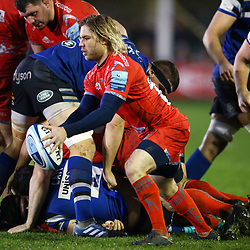 Faf de Klerk of Sale Sharks during the Gallagher Premiership match between Bath Rugby and Sale Sharks at the The Recreation Ground Bath England.2nd December 2018,(Photo by Steve Haag Sports)