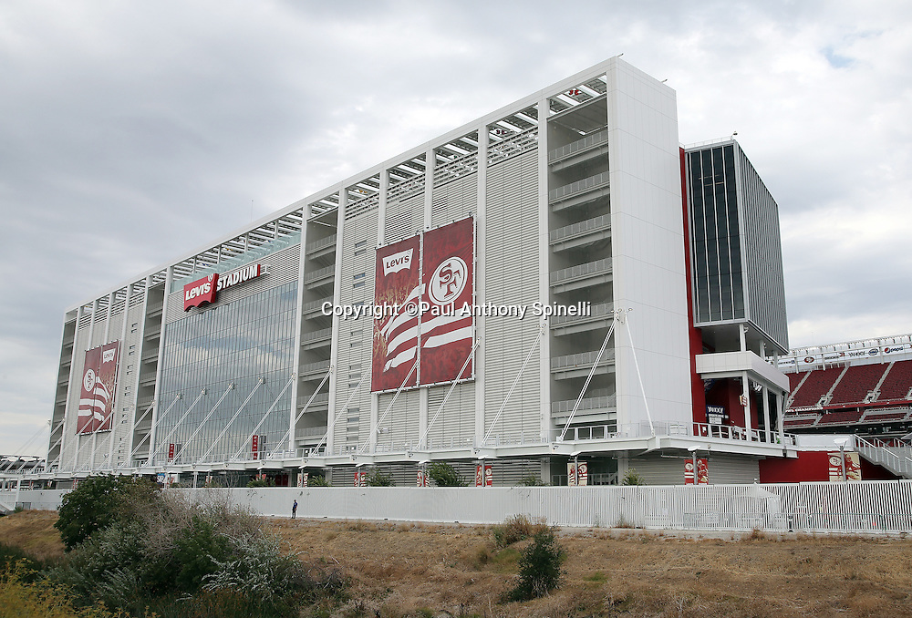 Levi's Stadium stands ready for the San Francisco 49ers 2015 NFL week 1 regular season football game against the Minnesota Vikings in this wide angle, exterior, general view photograph taken on Monday, Sept. 14, 2015 in Santa Clara, Calif. The 49ers won the game 20-3. (©Paul Anthony Spinelli)