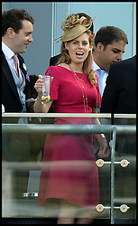 Image ©Licensed to i-Images Picture Agency. 21/06/2014. Ascot, United Kingdom.Princess Beatrice watching the racing on  Day 5 of Royal Ascot. Ascot Racecourse. Picture by Andrew Parsons / i-Images