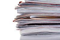 Newspaper in stack - close-up