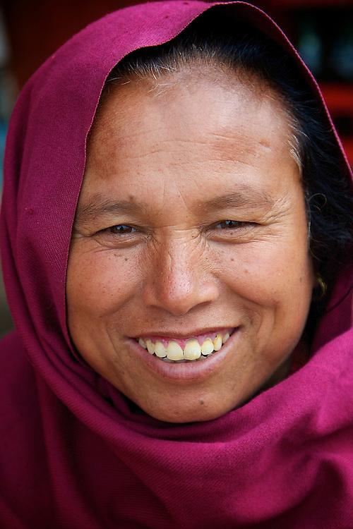 Portrait of a woman in Bhaktapur Durbar Square, Nepal.