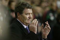 CARDIFF, WALES - WEDNESDAY FEBRUARY 9th 2005: Wales' manager John Toshack applauds the national anthem before the International Friendly match at the Millennium Stadium with Hungary. (Pic by Jason Cairnduff/Propaganda)