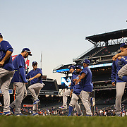 Chase Utley, (center, left), Los Angeles Dodgers, warming up with the team before the New York Mets Vs Los Angeles Dodgers, game three of the NL Division Series at Citi Field, Queens, New York. USA. 12th October 2015. Photo Tim Clayton for The Players Tribune