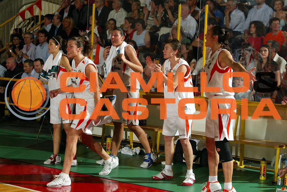 DESCRIZIONE : Schio Lega A1 Femminile 2005-06 Finale Scudetto Gara 5 Famila Schio Acer Priolo <br />GIOCATORE : Panchina Famila Schio <br />SQUADRA : Famila Schio <br />EVENTO : Campionato Lega A1 Femminile Finale Scudetto Gara 5 2005-2006 <br />GARA : Famila Schio Acer Priolo <br />DATA : 17/05/2006 <br />CATEGORIA : Esultanza  <br />SPORT : Pallacanestro <br />AUTORE : Agenzia Ciamillo-Castoria/M.Marchi