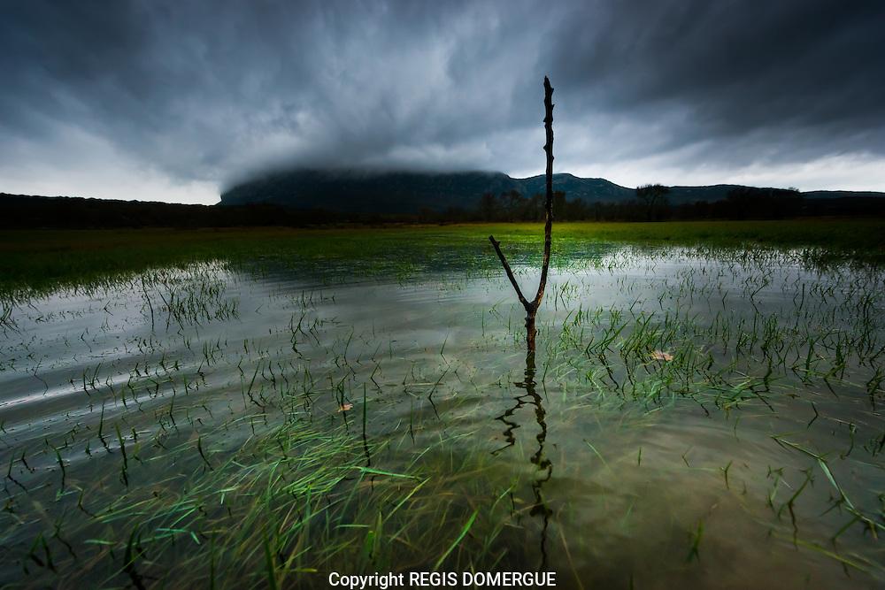 Le marais de la plaine de Londres , près du Pic Saint-Loup. A l'occasion d'un des nombreux épisodes méditérrannéens.