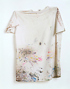 white T-shirt with paint splatters