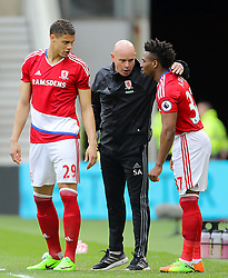 Middlesbrough manager Aitor Karanka (centre) speaks with Middlesbrough's Rudy Gestede and Middlesbrough's Adama Traore
