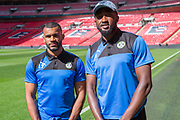 Forest Green Rovers Dan Wishart(17) and Forest Green Rovers Manny Monthe(3) on the Wembley Stadium familiarisation trip during the Vanarama National League Play Off Final match between Tranmere Rovers and Forest Green Rovers at Wembley Stadium, London, England on 14 May 2017. Photo by Shane Healey.