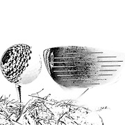 An artistic studio shot of a Golf club and a Golf Ball on a tee with a photoshop colour harmonies effect . 26th October 2012. Photo Tim Clayton