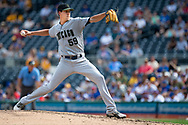 May 28, 2018 - Pittsburgh, PA, U.S. - PITTSBURGH, PA - MAY 28:   Chicago Cubs relief pitcher Luke Farrell (59) throws a pitch in the ninth inning during an MLB game between the Pittsburgh Pirates and Chicago Cubs on May 28, 2018 at PNC Park in Pittsburgh, PA. (Photo by Shelley Lipton/Icon Sportswire) (Credit Image: © Shelley Lipton/Icon SMI via ZUMA Press)
