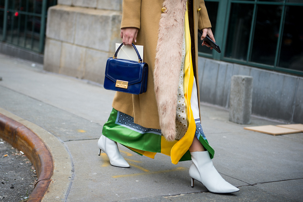 Blue Bag and White Boots Outside Tory Burch FW2018