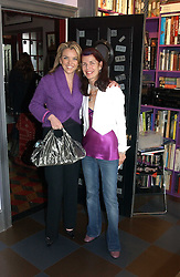 Left to right, PAULA WHITE-CORREAL and NATHALIE HAMBRO at a launch preview sale of Nathalie Hambro's new line of fashion accessories 'Full of Chic' held at her home 63 Warwick Square, London SW1 on 5th May 2005.<br />