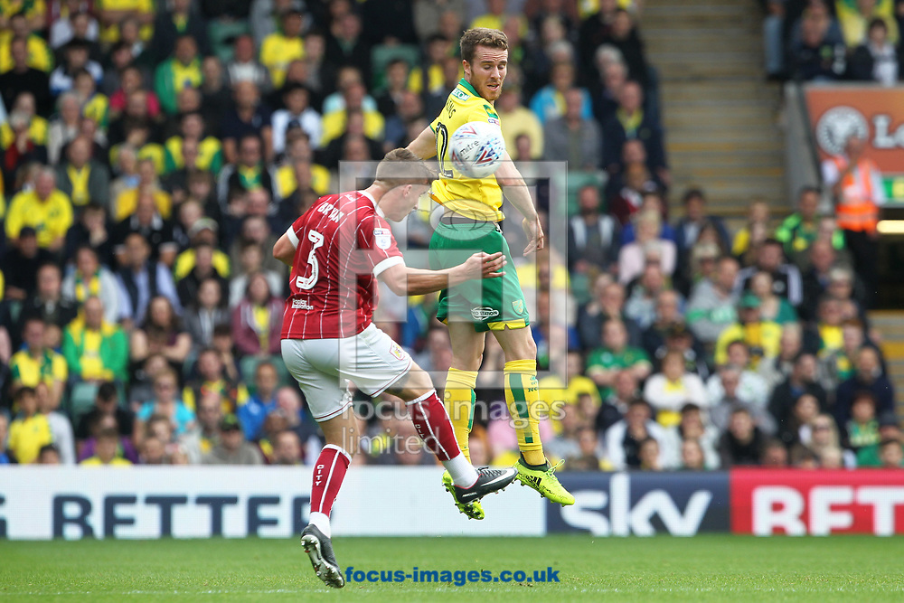 Marley Watkins of Norwich wins a header during the Sky Bet Championship match at Carrow Road, Norwich<br /> Picture by Paul Chesterton/Focus Images Ltd +44 7904 640267<br /> 23/09/2017
