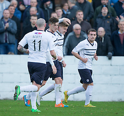 Raith Rovers Paul Watson (4) celebrates after scoring their second goal.<br /> Linlithgow Rose 0 v 2 Raith Rovers, William Hill Scottish Cup Third Round game player today at Prestonfield.