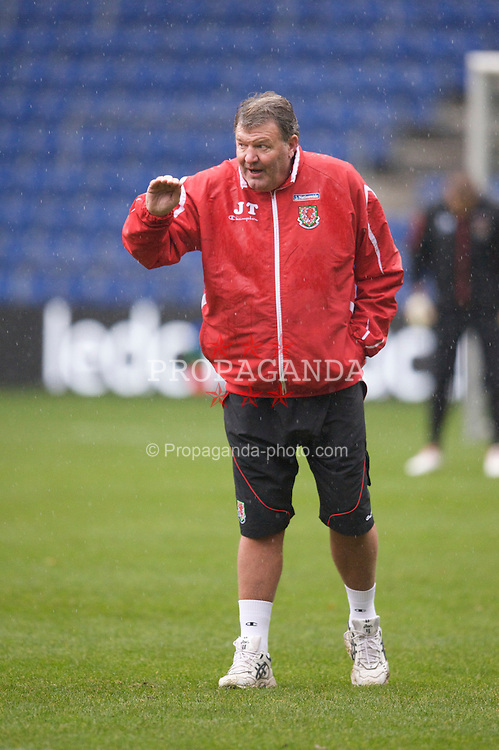COPENHAGEN, DENMARK - Tuesday, November 18, 2009: Wales' manager John Toshack MBE during a training session at the Brøndby Stadion ahead of the International friendly match against Denmark. (Pic by David Rawcliffe/Propaganda)