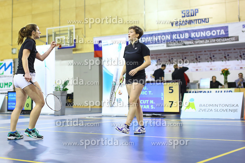 Nika Koncut and Sabina Magyar (BK Mladost) during 58th Slovenian national championship in badminton on Februar 1, 2015 in Zg. Kungota, Slovenia. (Photo By Grega Valancic / Sportida)