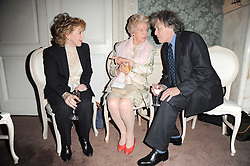 Left to right, PATRICIA HODGE. the DOWAGER DUCHESS OF DEVONSHIRE and SIR TOM STOPPARD at a party to celebrate Penguin's reissue of Nancy Mitford's 'Wigs on The Green' hosted by Tatler at Claridge's, Brook Street, London on 10th March 2010.